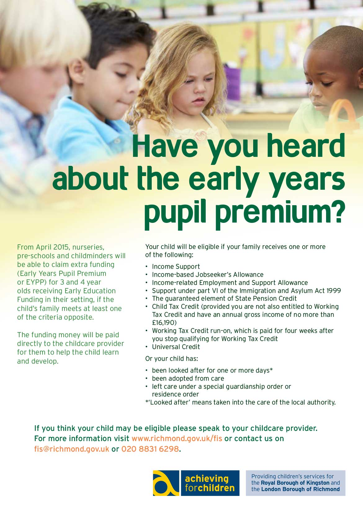 Early Years Pupil Premium poster